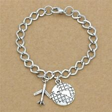 Travel Gifts Antique Silver Airliner Plane Earth Charm Link Chain Bracelet