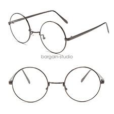 Unisex Clear Lens Big Round Metal Frame Vintage Retry Geek Fashion Glasses Gift Smoky Grey