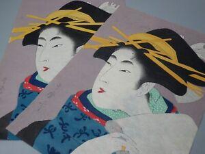 "JAPANESE VINTAGE 2pcs REPRINT UKIYOE ""UTAMARO"" WOODBLOCK PRINT GEISHA GIRLS NR"