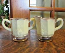 VINTAGE GRAPES AND LEAVES CUSTARD YELLOW GOLD ACCENTS CREAMER & SUGAR