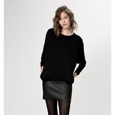 Maje Women's Black Gifle Leather-paneled Jersey Mini Dress Size S