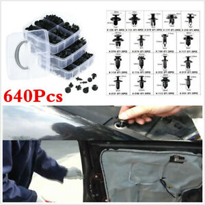 Plastic 640Pcs Car Rivet Fasteners Push Pin Clips Bumper Fender Panel Retainer