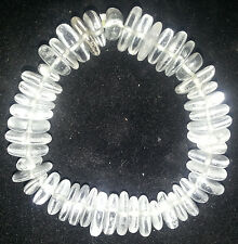 Power Healing Bracelet Natural Clear Quartz Rock Crystal Head Chakra Disc Beads