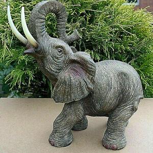 Elefanten Figuren Elefantenbaby Dickhäuter Dekostatue 2er Set Holzoptik