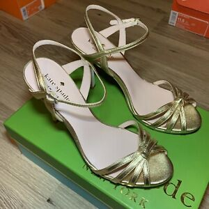Kate Spade Womens Florence Gold Evening Sandals Shoes Size 7.5 Medium (B,M)