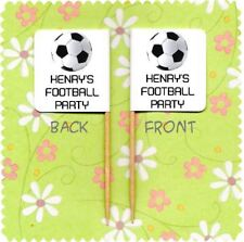 20 PERSONALISED FOOTBALL CUP CAKE FLAG Party Pick Topper Decoration Birthday