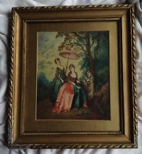 Antique German Silk Painting Baroque Ladies Flute Player Boy Forest Gold Frame