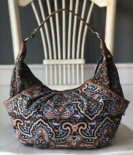 TIGNANELLO Canvas Boho Hobo Floral Multicolor Large Shoulder Handbag Purse EUC!