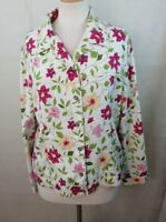 ALIA WOMENS 14 LARGE L BUTTON DOWN SHIRT TOP BLOUSE MULTI COLOR FLORAL LONG SLV