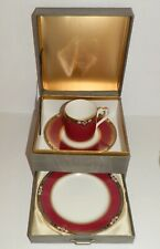 Vintage White Bon Noble Red Cup Saucer Plate Gift Set by Keito Japan