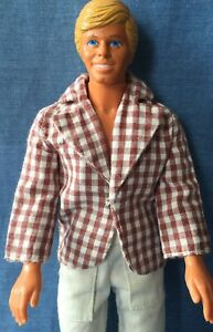 Mattel Barbie Ken Doll Clothes-Mod Hair 4224 Brown White Checked Jacket 1973