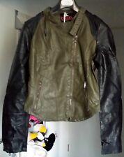 Be Cool - Damen - Trendy Kunstlederjacke im Bikerstil , Khaki , Größe XL , NEU