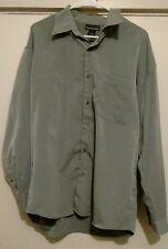Men's Montage Microfiber Green Long Sleeve Button Front Shirt Size L