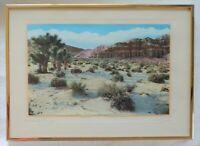 Vintage JM GARRISON Joshua Trees Desert Signed Hand Tinted Photo RED ROCK CANYON