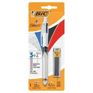 Bic 4 Colours Ballpoint Pen and Pencil (Black, Blue and Red Inks with HB Pencil)