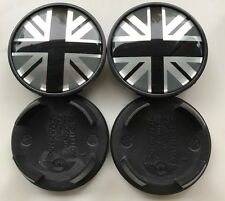 4x 54MM MINI COOPER UNION JACK BLACK ALLOY WHEEL CENTRE HUB CAPS Emblem Badge