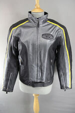 SILVER, BLACK & YELLOW SPYKE LEATHER RACING BIKER JACKET WITH CE ARMOUR 38 INCH