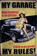 My Garage my Rules ! Pin Up Blechschild Schild Blech Metall Tin Sign 20 x 30 cm