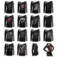 SPIRAL DIRECT Womens Long Sleeve Lace One Shoulder, Dragon/Skull/Rose/Angel/Top