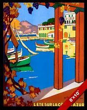 VINTAGE AZURE COAST FRENCH RIVIERA FRANCE TRAVEL AD POSTER ART REAL CANVAS PRINT