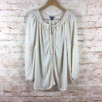 Chaps Womens Beige Boho Lace Long Sleeve Bloue Top Plus Size 1X