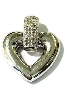 10k White Gold Diamond Open Heart Pendant