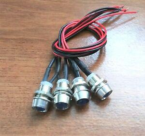 4 BBT 12 volt Bright Blue LED Indicator Lights in Stainless Steel Bezels