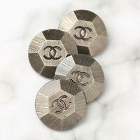 Chanel Buttons 4pc CC Silver 20mm Vintage Style 4 Buttons unstamped AUTH!!!