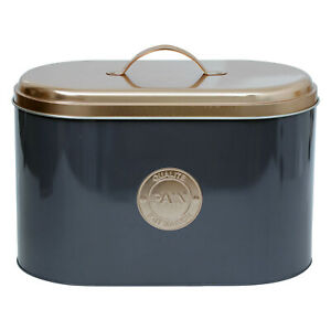 Urban Living Grey and Copper Lid Metal Bread Loaf Bin Kitchen Container Storage