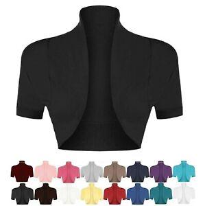 Ladies Women's Cotton Plain Cap Short Sleeve Shrug Bolero Cardigan Top