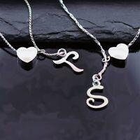 Sterlingsilber 925er Buchstaben Halskette mit Herz 45cm Initialien BF Statement