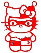 "Harley Quinn Hello Kitty Vinyl Decal 2 3/4"" x 2 1/8"" **RED**"