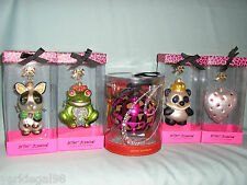 Betsey Johnson 2011 Christmas Ornaments x 5 - Frog, Bulldog, Panda, Heart, Ball