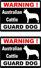 2 warning Australian Cattle guard dog car home window vinyl decals stickers