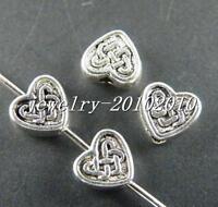 50pcs Tibetan Silver Beautiful Heart Spacer Beads 6x5.5x3mm 10035