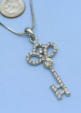 Clear Ornate Flower Skeleton Key Pendant Necklace Silver Tone Clear Stone Women