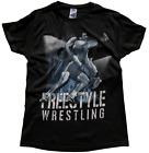Wrestling T-Shirt Ringer T-Shirts Tee Sport Lutte Ringen FREESTYLE - Black