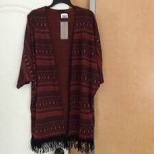 New Mittoshop Orangeblack Printed Knit Women Open Cover Top Size Large Runs Big.