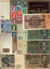 NAZI BANKNOTE, DOCUMENT, COIN AND STAMP SET  # 105