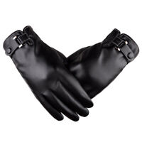 AM_ MEN TOUCH SCREEN GLOVES WINTER WARM FAUX LEATHER PLUSH DRIVING MITTENS SUPER