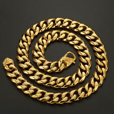 Heavy Gold Plated Cut Curb Cuban Link Chain 316L Stainless Steel Men's Necklace