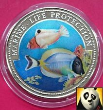 1997 LIBERIA $1 ONE DOLLAR MARINE LIFE PROTECTION COLORED FAUNA AND FLORA COIN
