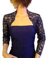 Women's Navy , Black or Purple Lace Bridal 3/4 sleeve Bolero Jacket UK 8 to 18