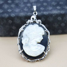 Natural Handmade Lady Carved Cameo Shell Gemstone Silver Necklace Pendants