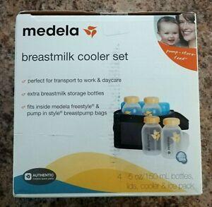 NEW Medela Pump Breast Milk Cooler Set Tote Bag Cooling Freezer Ice Pack Bottle