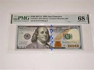 FR 2189-L 2017A $100 Federal Reserve Note FANCY SERIAL PMG 68 PPQ SUPERB Gem UNC