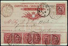 Cartolina vaglia da Lire TRE + affrancatura aggiuntiva cent.60