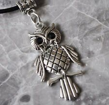 Antique Silver Plt Owl on a Perch Pendant Necklace Ladies Girls Gift Bird Animal