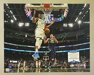 Giannis Antetokounmpo Signed 16x20 Photo AUTO Beckett BAS WITNESSED COA Bucks