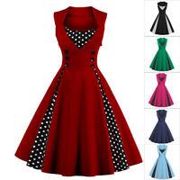Ladies Polka Dot Vintage 50s Retro Rockabilly Party Prom Swing Dress